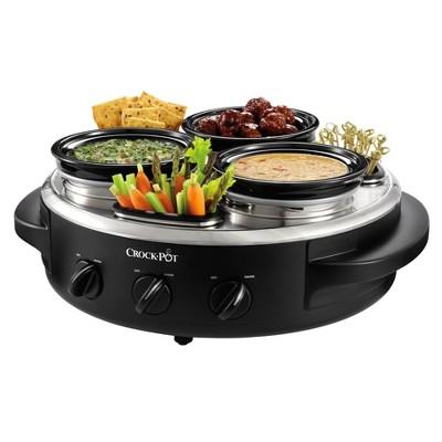 Crock-Pot® Little Triple Dipper® Food Warmer with Lazy Susan, Black/Stainless Steel, SCRTD300-BS