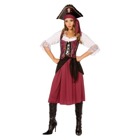 Women's Burgundy Pirate Wench Costume
