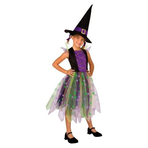 Girl's Light-Up Rainbow Witch Costume