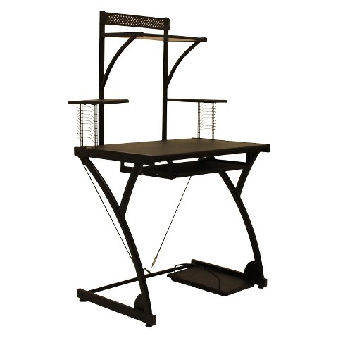 Raynier puter Desk with Printer Stand Black Tar