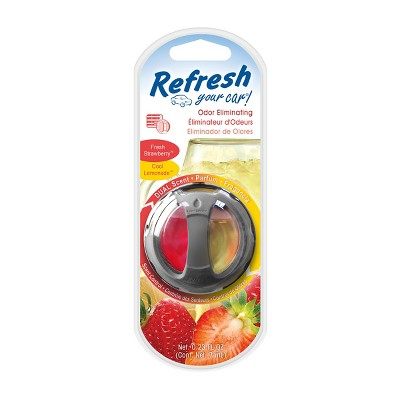 Refresh Your Car! Fresh Strawberry/Cool Lemonade Odor Eliminating Dual Scent Diffuser