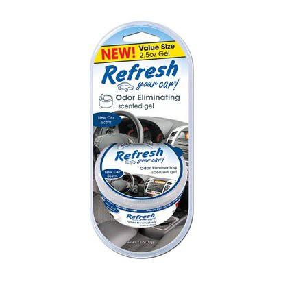 Refresh Your Car! New Car Scent Odor Eliminating Scented Gel, 2.5 oz.