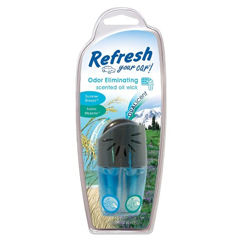 Refresh Your Car Odor Eliminating Alpine Meadow and Summer Breeze Scented Oil Wick