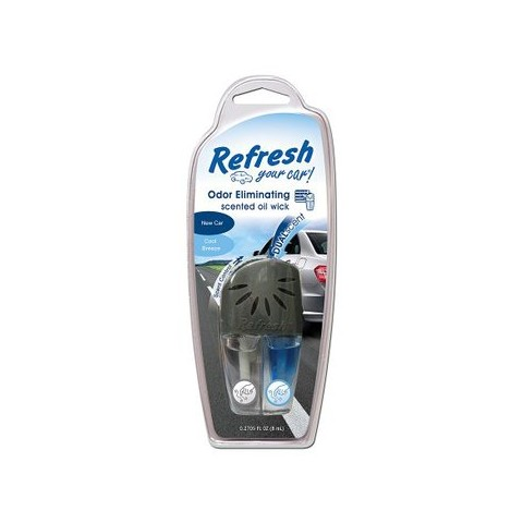 Refresh Your Car! New Car/Cool Breeze Odor Eliminating Scented Oil Wick