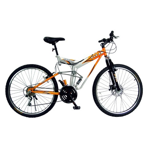 "Titan Mens Fusion Dual Suspension 26"" Mountain Bike - Orange/Silver"