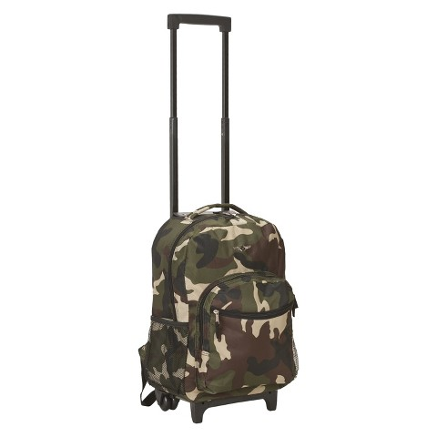 """Rockland Roadster 17"""" Rolling Backpack - Camo"""