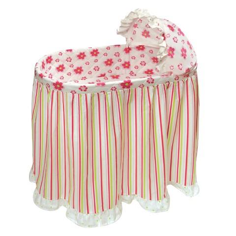 Badger Basket Embrace Bassinet Bedding Set - Flowers/Stripes