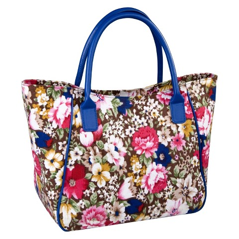 Sachi Brown Floral Blue Insulated Lunch Tote - Multicolored