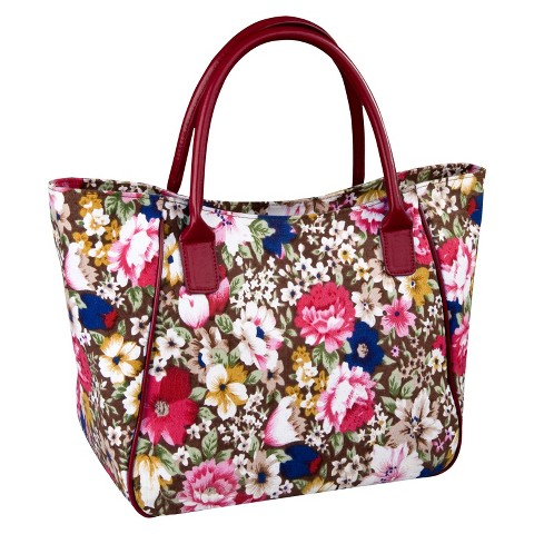 Sachi Brown Floral Pink Insulated Lunch Tote - Multicolored