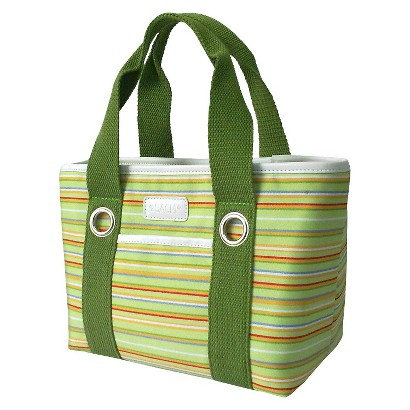 Sachi Light Green Stripe Insulated Lunch Tote - Multicolored