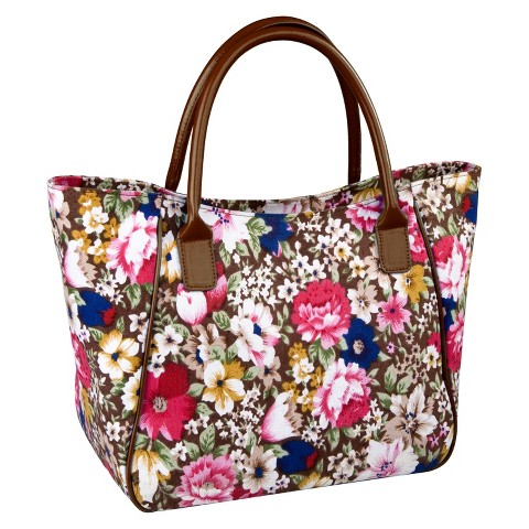 Sachi Brown Floral Insulated Lunch Tote - Multicolored