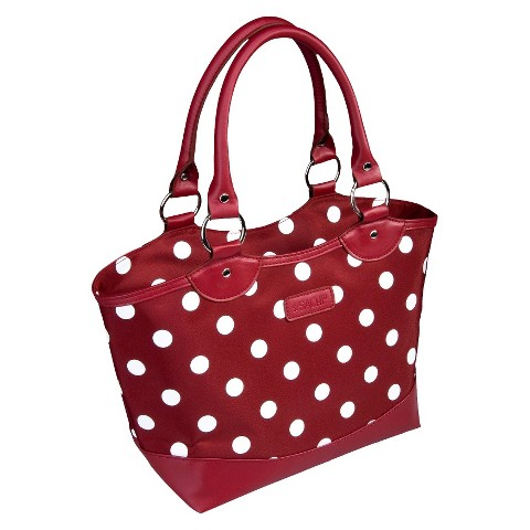 Sachi Burgundy with White Dots Insulated Tote