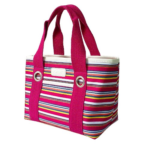 Sachi Dark Pink Stripe Insulated Lunch Tote - Multicolored
