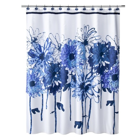 Eve Floral Shower Curtain White Blue Tar