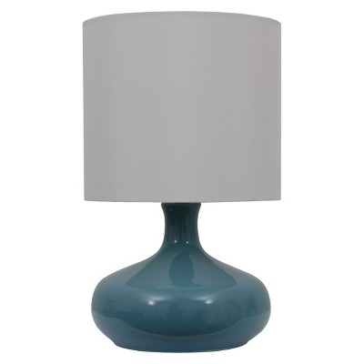 Ceramic Gourd Lamp with White Shade - Teal (Includes CFL Bulb)