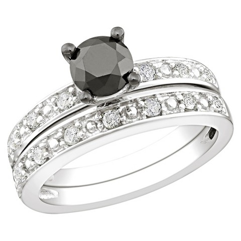 1 ct Black & White Diamond Bridal Set Ring
