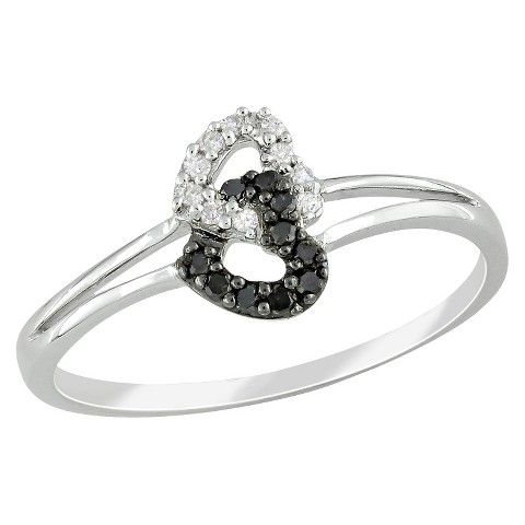 1/10 CT.T.W. Black & White Diamond Fashion Ring in Sterling Silver