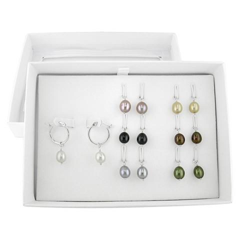 Silver Hoop Interchangeable 8mm Rice Pearl Charm Earrings Set