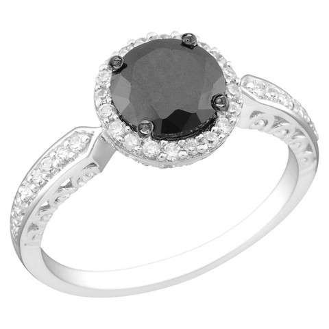 Black and White Cubic Zirconia Silver Bridal Ring