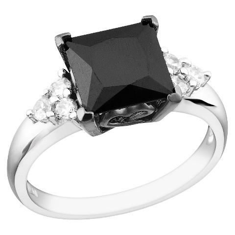 Women's Silver Cubic Zirconia Bridal Ring - Black/White