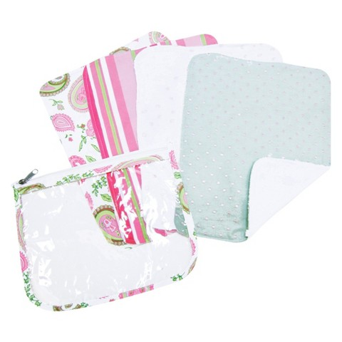 Trend Lab 5 Pc. Burp Cloths and Pouch Set - Paisley