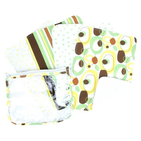 Trend Lab 5 Pc. Burp Cloth and Pouch Set - Giggles