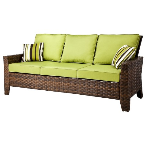 Belmont Brown Wicker Patio 3 Seater Sofa Tar