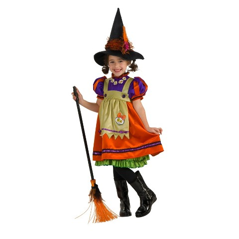 Girl's Orange Witch Costume