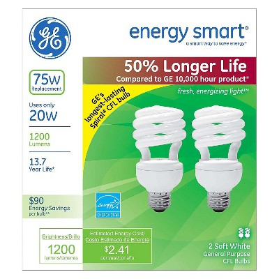 GE 75-Watt CFL Light Bulb (2-Pack) - Soft White