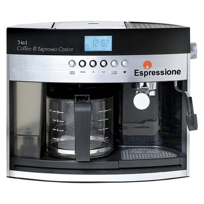 Espressione Black and Silver 3-in-1 Combination Coffee Beverage System