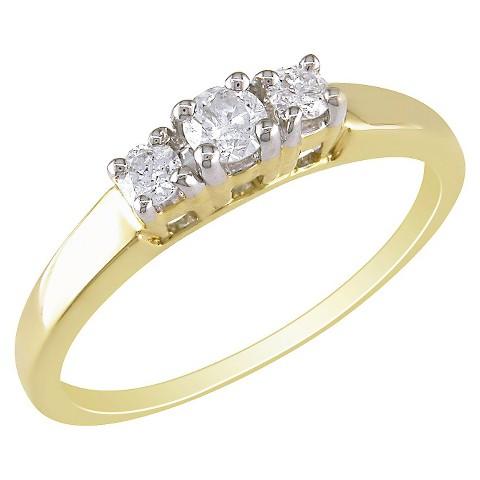 14K Yellow Gold Diamond 3 Stone Ring Gold