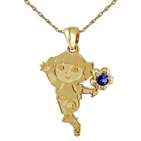 Dora The Explorer Sterling Silver September Birthstone Pendant Necklace - Gold