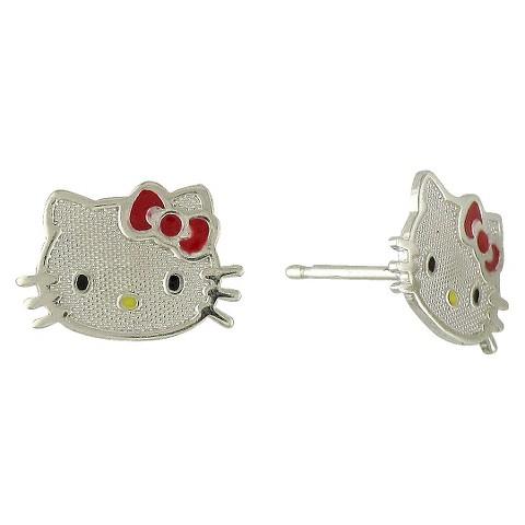 Hello Kitty Red Sterling Silver Stud Earrings