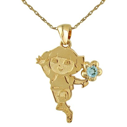 Dora The Explorer Sterling Silver December Birthstone Pendant Necklace - Gold