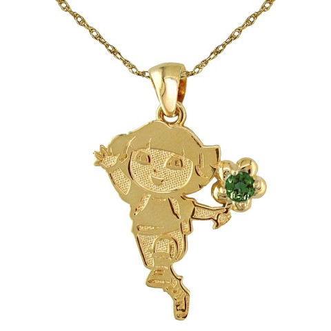 Dora The Explorer Sterling Silver May Birthstone Pendant Necklace - Gold