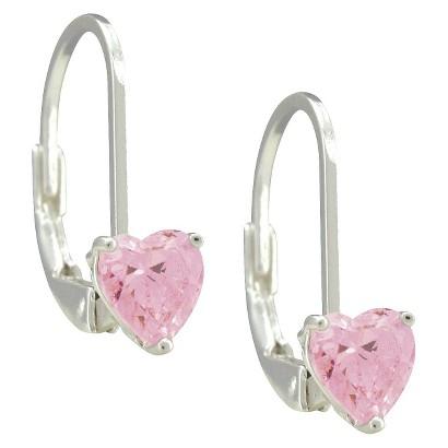 Disney Princess Sterling Silver Cubic Zirconia Heart Leverback Earrings