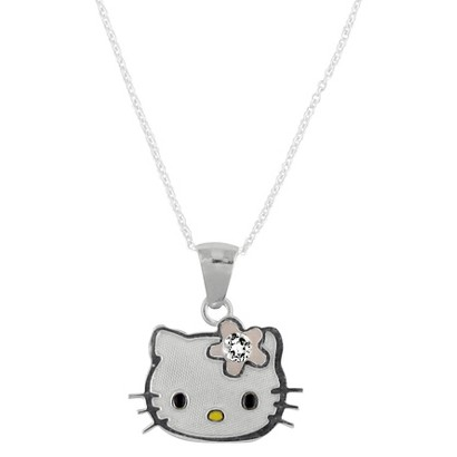 Hello Kitty Sterling Silver April Birthstone Pendant Necklace
