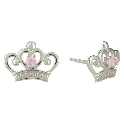 Disney Princess Cubic Zirconia Crown Sterling Silver Earrings