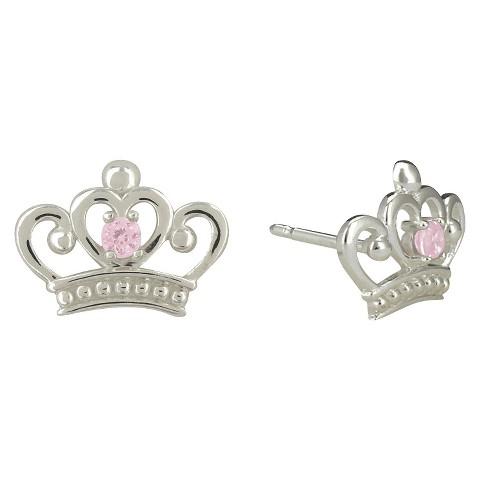Disney Princess Cubic Zirconia Crown Sterling Silver Earrings