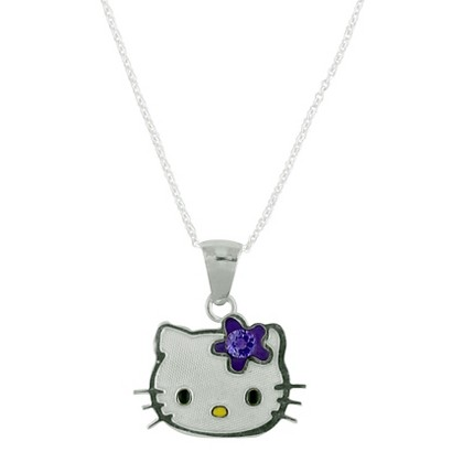 Hello Kitty Sterling Silver February Birthstone Pendant Necklace