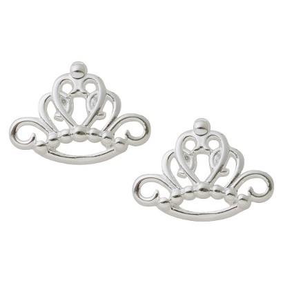 Disney Princess Sterling Silver Crown Stud Earrings