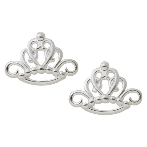 Disney Princess Sterling Silver Crown Stud Earrings