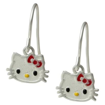 Hello Kitty Sterling Silver Dangle Earrings