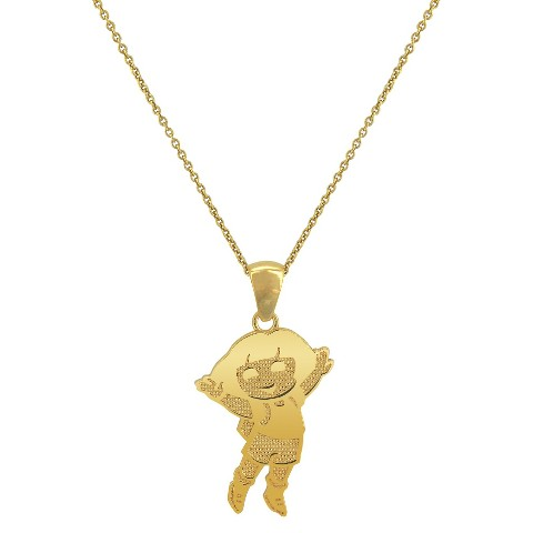 Dora The Explorer Gold Pendant Necklace with Chain - Gold