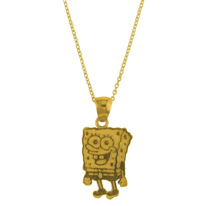 "Sponge Bob Sterling Silver Pendant Necklace with 18"" Chain - Gold"