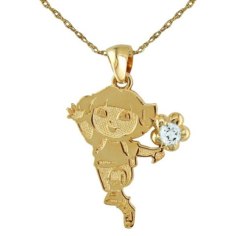 Dora The Explorer Sterling Silver March Birthstone Pendant Necklace - Gold