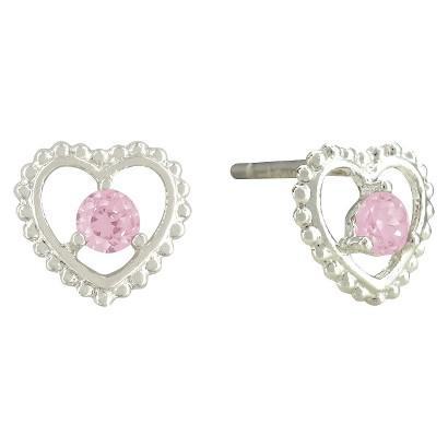 Disney® Princess Sterling Silver Pink Cubic Zirconia Stud Earrings - Silver