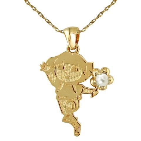Dora The Explorer Sterling Silver June Birthstone Pendant Necklace - Gold