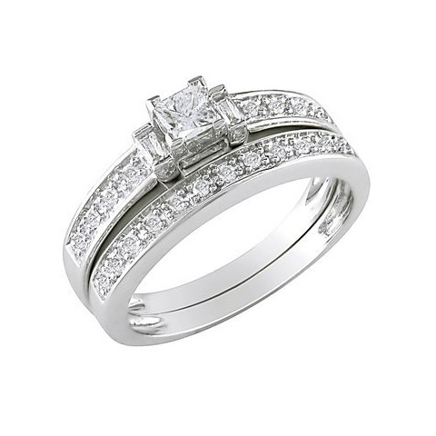 10K White Gold Diamond Bridal Set Silver