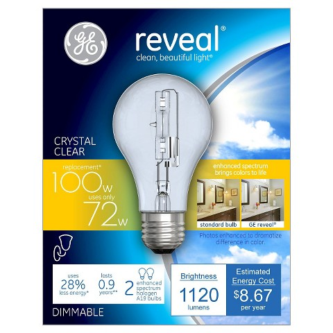 GE Reveal 100-Watt Energy Efficient Halogen Light Bulb (2-Pack) - Clear